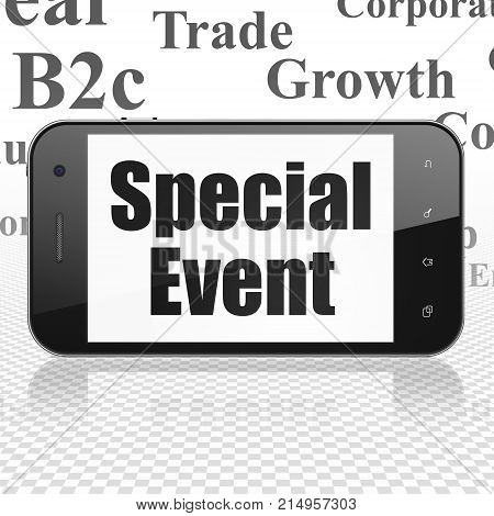 Business concept: Smartphone with  black text Special Event on display,  Tag Cloud background, 3D rendering