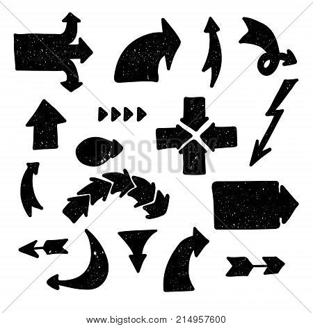 Vector set of block black arrows with texture. Chalk. Design element for infographics, cards, posters