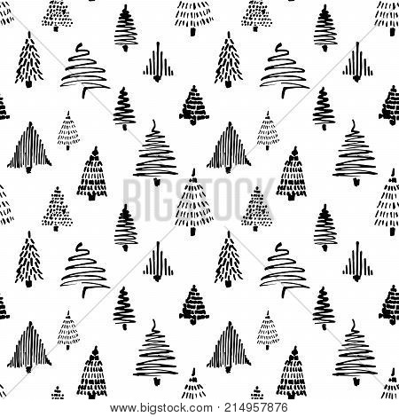 Christmass tree seamless pattern. Vector illustration. Black and white. Monochrome. Hand drawn doodle sketch with ink. Design for wrapping and backgrounds.