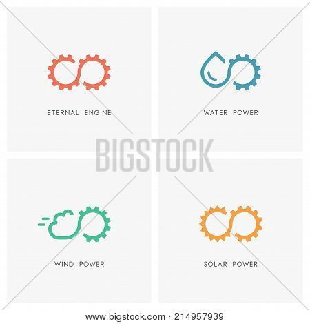 Alternative energy source logo set. Gear wheel or pinion, water, cloud, the sun and infinity symbol - eternal engine and perpetuum mobile, solar, wind and hydro power, industry and ecology icons.