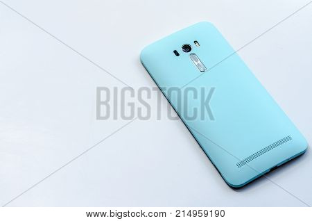blue smart phone on the white background