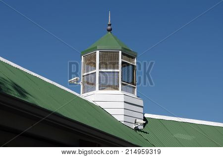 Look-out tower on roof to spot great white sharks in bathing area