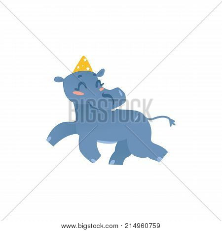Cute baby hippo, hippopotamus character in birthday hat, running happily, cartoon vector illustration isolated on white background. Funny hippo at birthday party, wearing party hat