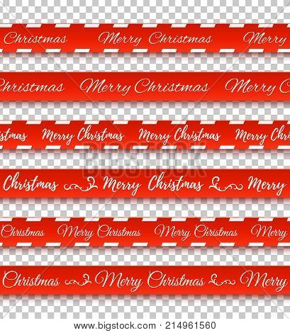 Merry Christmas red banners. Set of warning tapes, ribbons on transparent background. Vector illustration.