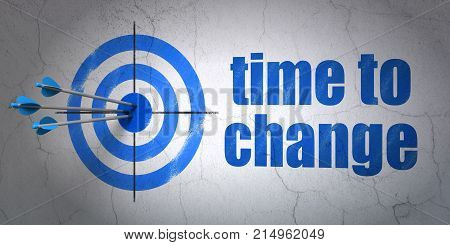 Success time concept: arrows hitting the center of target, Blue Time to Change on wall background, 3D rendering