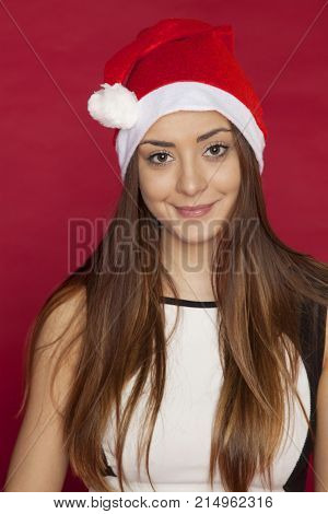 Portrait Of Woman In Christmas Cap With Pompon