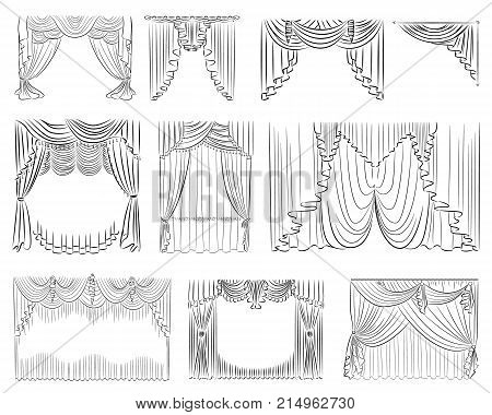 Luxury curtains vector set. Outline thin lines draperies interior decoration design isolated on white background. Curtain collection vector illustration for web or print design.