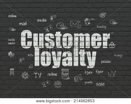 Marketing concept: Painted white text Customer Loyalty on Black Brick wall background with  Hand Drawn Marketing Icons