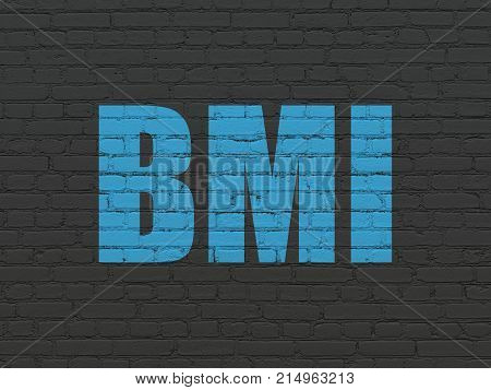 Healthcare concept: Painted blue text BMI on Black Brick wall background