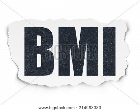 Health concept: Painted black text BMI on Torn Paper background with  Tag Cloud