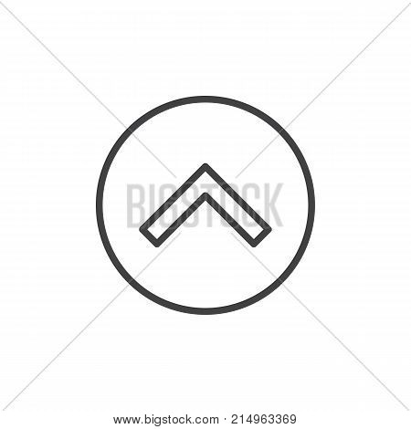 Upper arrow line icon, outline vector sign, linear style pictogram isolated on white. Move forward symbol, logo illustration. Editable stroke