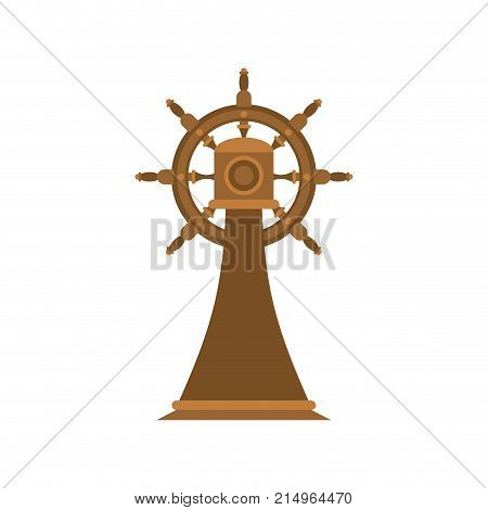Ship Steering wheel on stand isolated. Ship part. Vector illustration