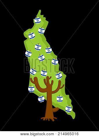 Patriotic Tree Israel Map. Apple Tree And Apples Israeli Flag. National State Plant. Vector Illustra