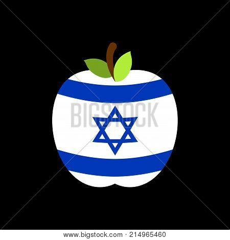 Apple Israel Flag. Israeli National Fruit. Vector Illustration