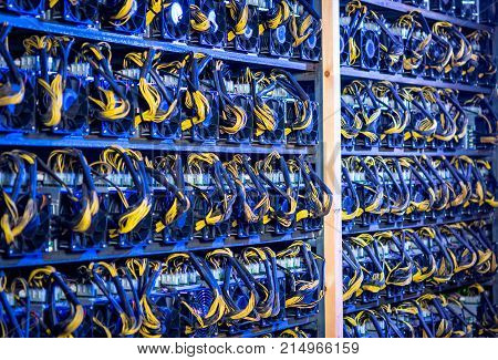 rendering bitcoin cryptocurrency mining farm background color