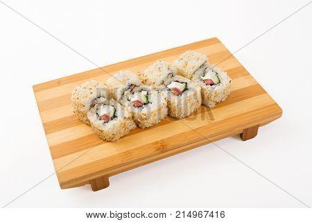 Fresh And Delicious Maki And Nigiri Sushi And Sake Glass