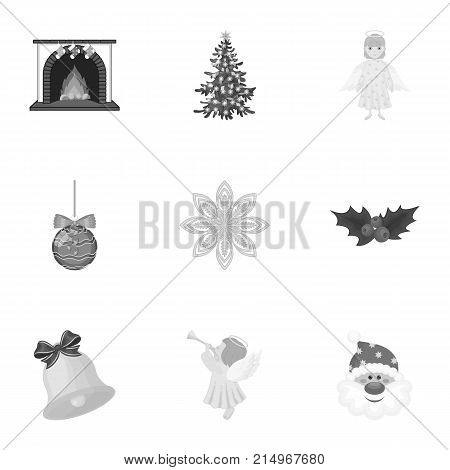 Christmas attributes and accessories monochrome icons in set collection for design. Merry Christmas vector symbol stock illustration.