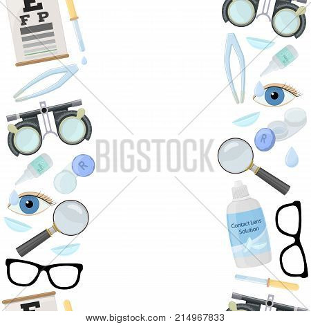 Seamless vertical borders of medical optometry accessory for correct vision - contact lens solution lens case eye test chart glasses. Vector