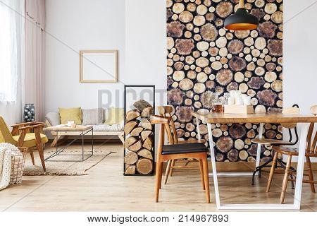 Apartment Designed In Rustic Style