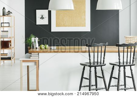 Room With Black Bar Stools
