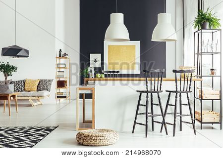 Room With Rustic Bar Stools