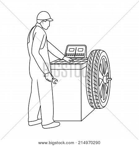 Wheel balancer single icon in outline style for design.Car maintenance station vector symbol stock illustration .