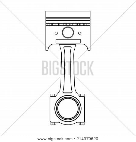 Connecting rod with piston single icon in outline style for design.Car maintenance station vector symbol stock illustration .