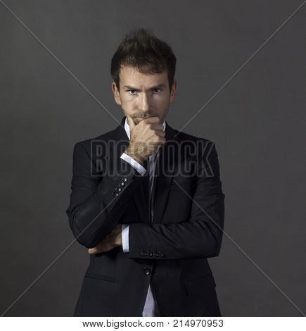 Portrait Of A A Serious And Concentrared Gentleman In Business A