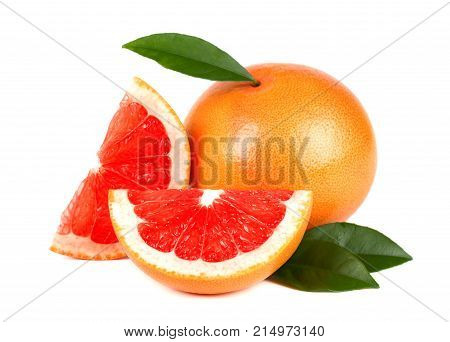 Isolated grapefruits. Collection of whole pink grapefruit and slices isolated on white background