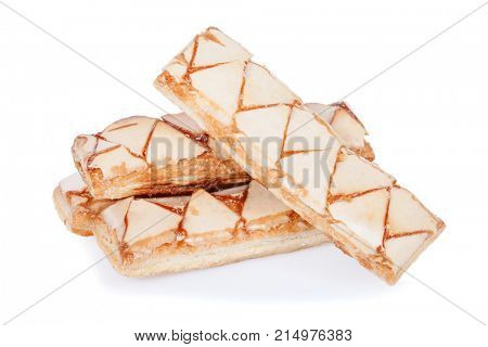 Sfogliatine, an Italian puff pastry, isolated on white background, cut out or cutout