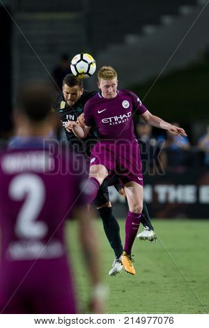 LOS ANGELES, CA - JULY 26: Kevin De Bruyne & Nacho during the 2017 International Champions Cup game between Manchester City and Real Madrid on July 26th 2017 at the Los Angeles Memorial Coliseum.