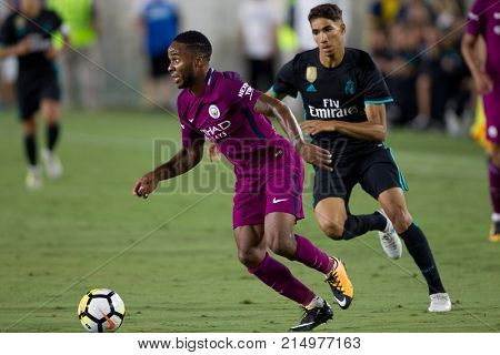LOS ANGELES, CA - JULY 26: Raheem Sterling during the 2017 International Champions Cup game between Manchester City and Real Madrid on July 26th 2017 at the Los Angeles Memorial Coliseum.