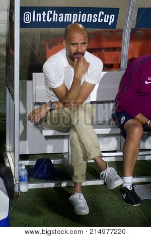 LOS ANGELES, CA - JULY 26: Pep Guardiola during the 2017 International Champions Cup game between Manchester City and Real Madrid on July 26th 2017 at the Los Angeles Memorial Coliseum.