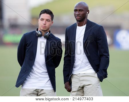 LOS ANGELES, CA - JULY 26: Samir Nasri & Eliaquim Mangala before the 2017 International Champions Cup game between Manchester City & Real Madrid on July 26th 2017 at the Los Angeles Memorial Coliseum.