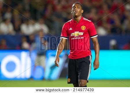 CARSON, CA - JULY 15: Anthony Martial during Manchester United's summer tour friendly against the L.A. Galaxy on July 15th 2017 at the StubHub Center.