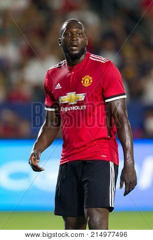 CARSON, CA - JULY 15: Romelo Lukaku during Manchester United's summer tour friendly against the L.A. Galaxy on July 15th 2017 at the StubHub Center.