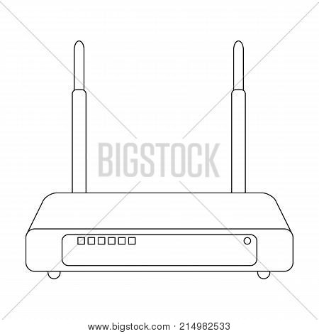 Router, single icon in outline style.Router vector symbol stock illustration .