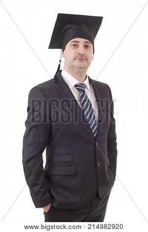 Proud male college professor standing isolated on white background