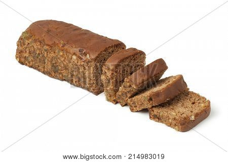 Typical Dutch spice bread with Succade, ginger, cinnamon, nutmeg and cloves made in the province of Friesland on white background