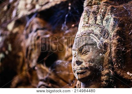 Bas reliefs in Terrace of the Leper King in Angkor Archeological area in Cambodia