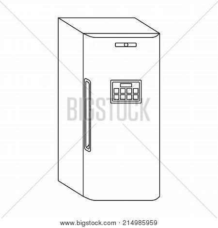 Refrigerator, single icon in outline style.Refrigerator, vector symbol stock illustration .