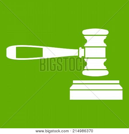 Judge gavel icon white isolated on green background. Vector illustration