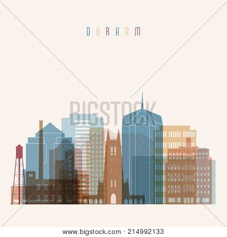 Durham state North Carolina skyline detailed silhouette. Transparent style. Trendy vector illustration.