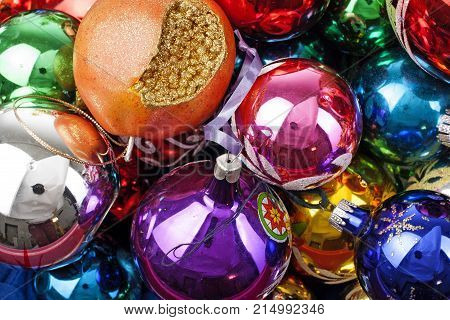 Christmas bauble baubles ball texture real glass ball. Christmas balls, celebrate christmas holiday with colorful shiny brilliant christmas balls ornaments. Illustrate holiday with baubles balls as texture.