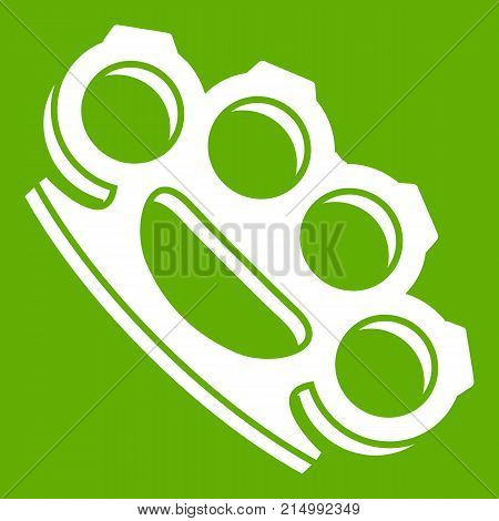 Brass knuckles icon white isolated on green background. Vector illustration