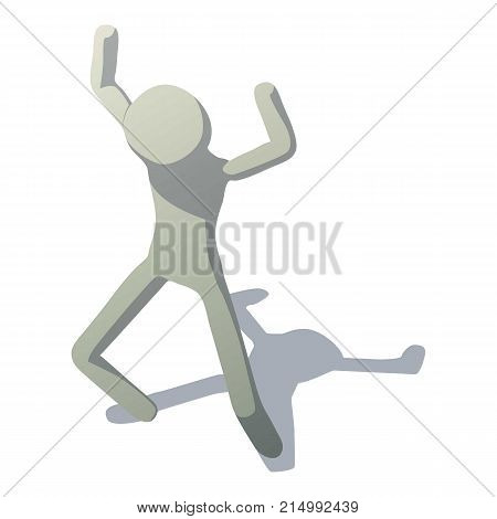 Stick man frightening icon. Isometric illustration of stick man frightening vector icon for web