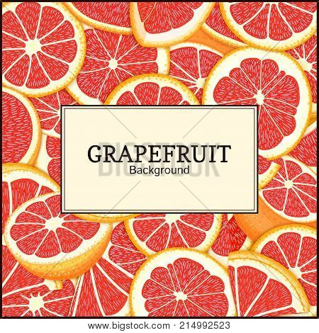 square label on citrus grapefruit background. Vector card illustration. Tropical fresh and juicy red pomelo frame peeled piece of half slice for design of food packaging juice breakfast, tea diet juce