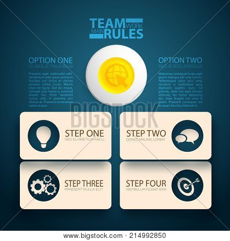 Business design concept background with description of teamwork plan options flat vector illustration