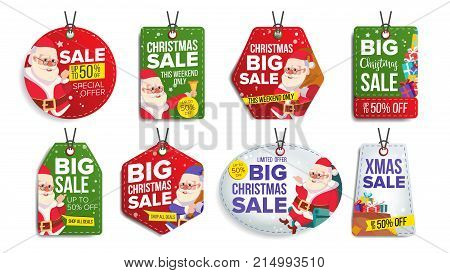 New Year Sale Tags Vector. Colorful Shopping Discounts Stickers. Santa Claus. Discount Concept. Season Christmas Sale Red, Green, Blue Banners. Promotion Illustration