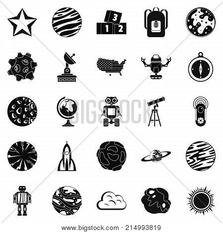Space icons set. Simple set of 25 space vector icons for web isolated on white background